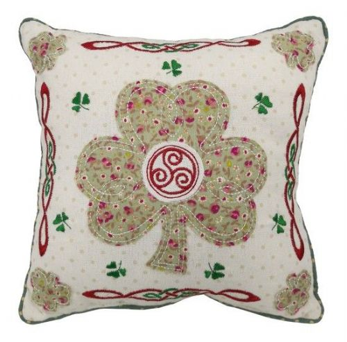 Irish Shamrock Patchwork Cushion 10""